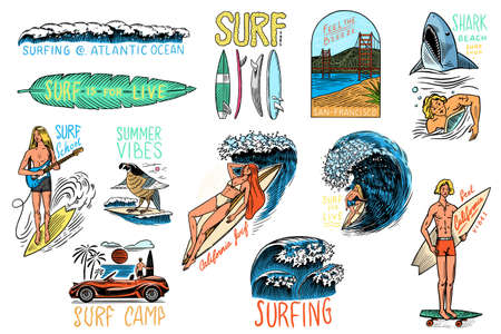 Surf badge, Vintage Surfer . Retro Wave and palm. Summer California pins set. Man on the surfboard, beach and sea. Engraved emblem hand drawn. Banner or poster. Sports in Hawaii.