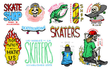Skateboard shop badges and set. Vintage retro Templates for t-shirts and typography. Street dinosaur and skeletons ride on the boards concept. Fiery head and skull. Hand Drawn engraved sketch. Vettoriali