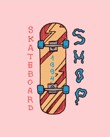 Skateboard Label for typography. Vintage retro ride on the boards concept. 일러스트