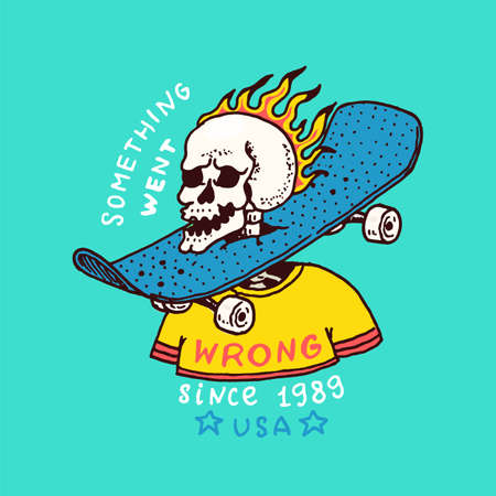 Burning skeleton with a skateboard on the neck. Label for typography. Vintage retro Ride on the boards concept.