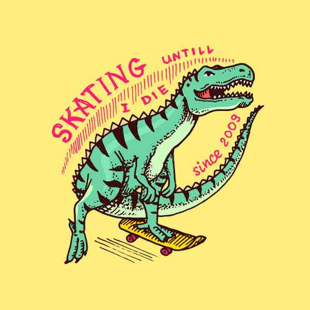 Dinosaur on a skateboard label for typography. Vintage retro Dino.