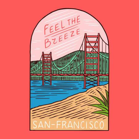 Retro Summer San Francisco. Surf badge, Vintage Surfer  . Engraved emblem hand drawn. Banner or poster.