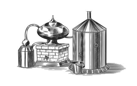 Distilled alcohol. Device for preparing tequila, cognac and spirits. Engraved hand drawn vintage sketch. Woodcut style. Vector illustration for menu or poster. Vecteurs