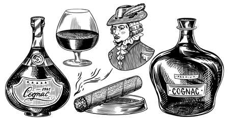 Cognac bottles. Glass goblet, cigar and gentleman or duke. Engraved hand drawn vintage sketch. Woodcut style. Vector illustration for menu or poster.