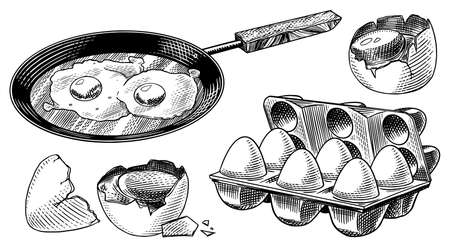 Frying pan with fried eggs and scrambled omelette, Shell and packaging. Farm product. Engraved hand drawn vintage sketch. Woodcut style. Vector illustration for menu or poster.