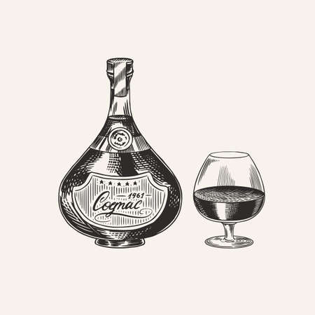 Cognac bottle and glass goblet. Engraved hand drawn vintage sketch. Woodcut style. Vector illustration.