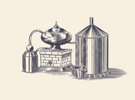 Distilled alcohol. Device for preparing tequila, cognac and spirits. Engraved hand drawn vintage sketch. Woodcut style. Vector illustration for menu or poster. Vector Illustration