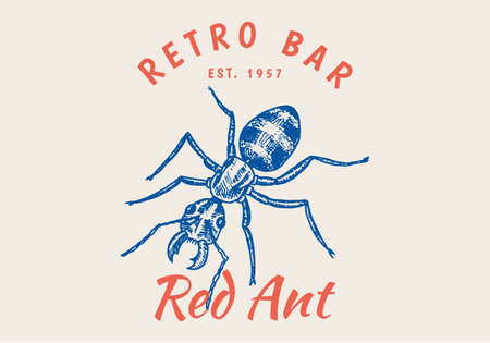 Vintage Ant Bugs Beetles label for bar or tattoo studio. Emblems badges, t-shirt typography. Engraved Vector illustration.