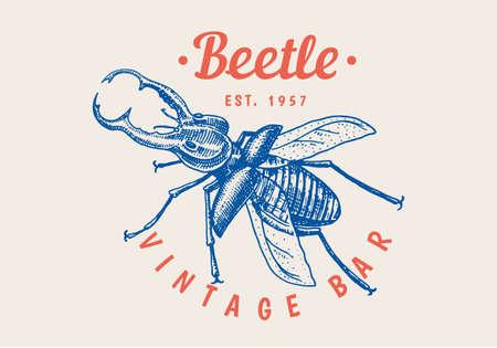 Vintage Bug Beetle label for bar or tattoo studio. Emblems badges, t-shirt typography. Engraved Vector illustration.