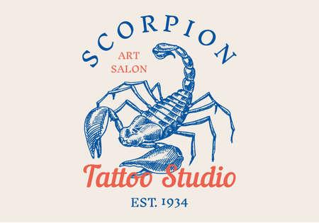 Vintage Scorpion label for bar or tattoo studio. Emblems badges, t-shirt typography. Engraved Vector illustration.