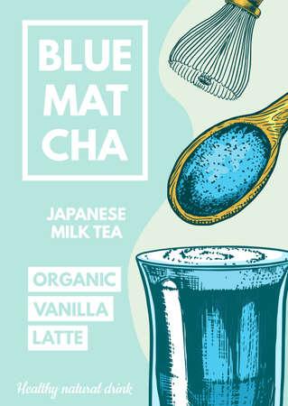 Matcha blue tea poster. Healthy milk latte. Japanese ceremony banner. Engraved hand drawn Vintage sketch for menu or book.