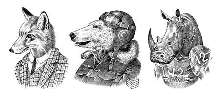 Fox and Rhino dressed up in Suit. Polar bear pilot. Fashion Animal characters. Hand drawn sketch. Vector engraved illustration for label, logo and T-shirts or tattoo.