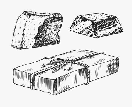 A piece of soap. Washing hands in vintage style. Homemade packaging. Organic Bubble cosmetic, natural lather for Bath. Drawn a monochrome engraved sketch for spa label or banner.