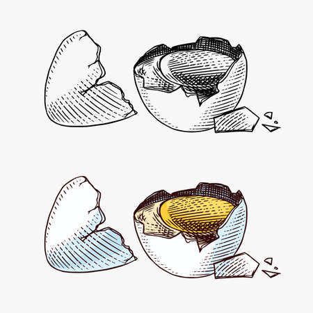Broken egg with yolk and shell. Farm product. Engraved hand drawn retro vintage sketch. Woodcut style. Vector illustration for menu or poster.