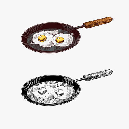 Frying pan with fried eggs and scrambled omelette. Farm product. Engraved hand drawn vintage sketch. Woodcut style. Vector illustration for menu or poster.