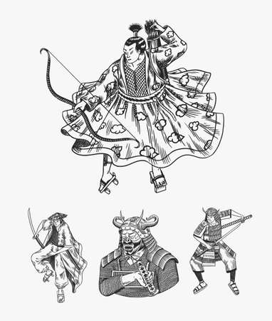 Japanese samurai set. Warriors with weapons sketch. Men in a fight pose. Hand drawn vintage sketches. Vector illustration in monochrome style. Ilustración de vector
