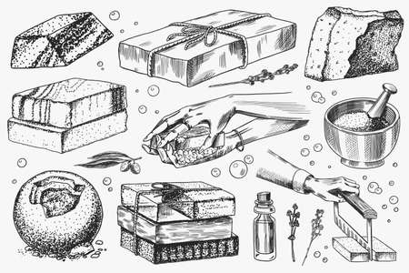 Bar of soap. Washing hands in vintage style. Homemade packaging. Foam production process. Organic Bubble cosmetic, natural lather for Bath. Drawn a monochrome engraved sketch for spa label or banner.
