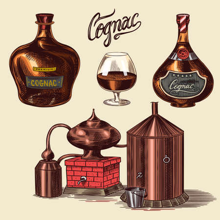 Cognac and glass. Bottles with labels, cigar and cocktail, sweets and farm, chocolate and man. Engraved hand drawn vintage sketch. Woodcut style. Vector illustration for menu or poster.