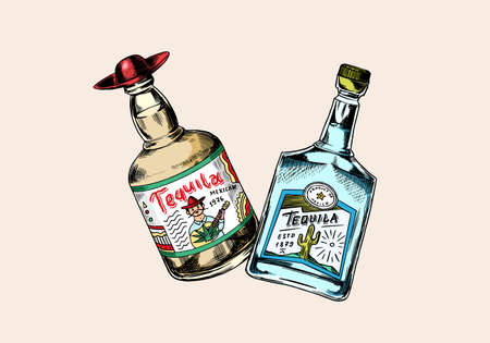 Glass Bottle with strong drink. Cheers toast. Vintage Mexican tequila badge. Alcoholic Label for poster banner. Hand Drawn engraved sketch for t-shirt.  イラスト・ベクター素材