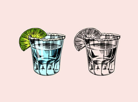 Glass shots with strong drink. Vintage Mexican tequila badge. Alcoholic Label for poster banner. Hand Drawn engraved sketch lettering for t-shirt.  イラスト・ベクター素材