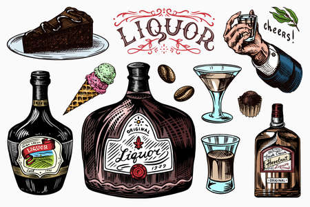Liquor set. Bottle and shot and Distilled alcohol. Glass in hand for cheers toast. Cigar and sweets, ice cream and chocolate bar. Engraved hand drawn vintage sketch for menu or poster.