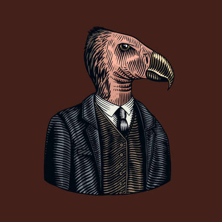 California condor gentleman. American Bird in costume. Fashion animal character. Hand drawn vintage sketch. Vector engraved illustration for logo, label and tattoo or T-shirts. Stock Illustratie