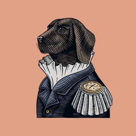 Dog officer or military man in the old uniform. Great Dane. Fashion animal character. Hand drawn vintage sketch. Vector engraved illustration for logo, label and tattoo or T-shirts. Vector illustration