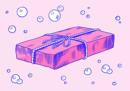 Bubble Bath soap. Organic cosmetic, natural lather. Drawn a monochrome engraved sketch for spa label or banner.