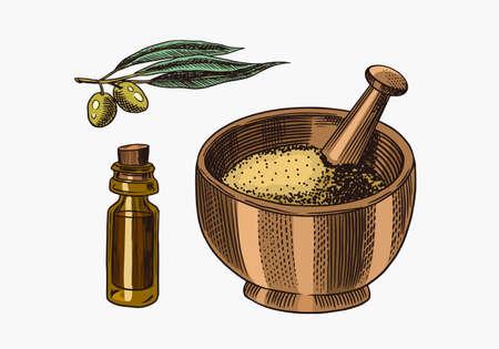 Bowl of spa powder. Olives and a bottle of oil. Engraved hand drawn line Vintage old monochrome sketch. Vector illustration.
