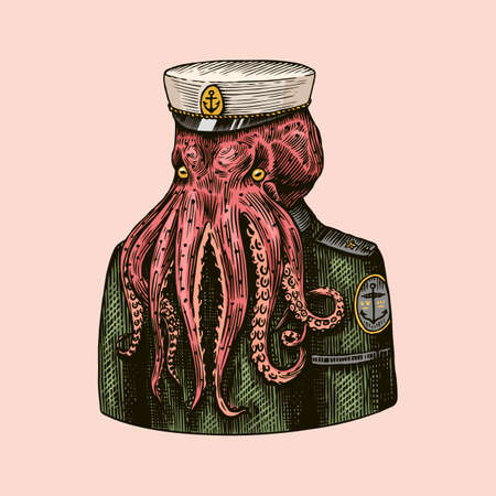 Octopus sailor. Sea captain. Fashion Animal character. Nautical Seaman or nautical mariner. Hand drawn sketch. Vector engraved illustration for logo, label and tattoo or T-shirts.