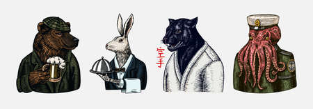 Grizzly Bear with a beer mug. Octopus sailor and Hare or Rabbit waiter. Black panther. Japanese text means: karate. Fashion animal character. Hand drawn sketch.