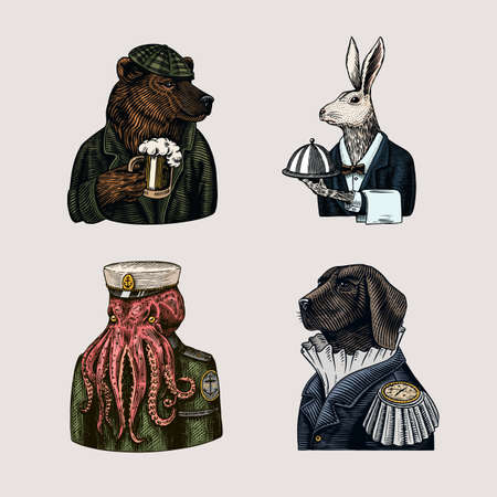Grizzly Bear with a beer mug. Octopus sailor and Hare or Rabbit waiter. Dog officer. Fashion animal character. Hand drawn sketch. Stock Illustratie