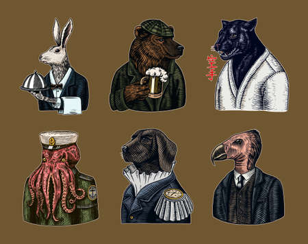 Grizzly Bear with a beer mug. Octopus sailor and Hare or Rabbit waiter. Dog officer and bird. Black panther. Japanese text means: karate. Fashion animal character. Hand drawn sketch.