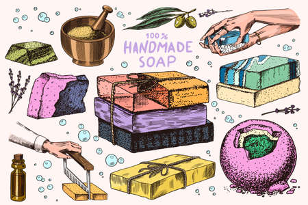Bubble Bath soap set. Washing hands in vintage style. Homemade packaging. Foam production process. Organic cosmetic, natural lather. Drawn a monochrome engraved sketch for spa label or banner. Stock Illustratie