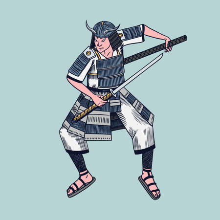 Japanese samurai. Warriors with weapons sketch. Men in a fight pose. Hand drawn vintage sketches. Vector illustration in monochrome style.