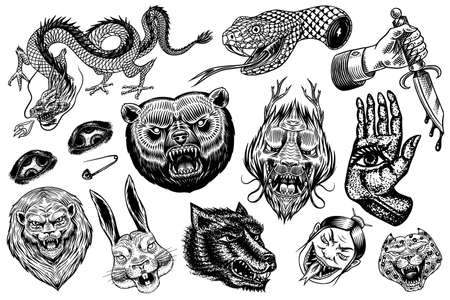 Set of Fashion patches. Tattoo artwork. Bear Dragon Lion Snake Dagger Hare and astrological hand. Drawn Engraved in old vintage sketch. Vector surreal illustration, badges, print for t-shirt. Illustration