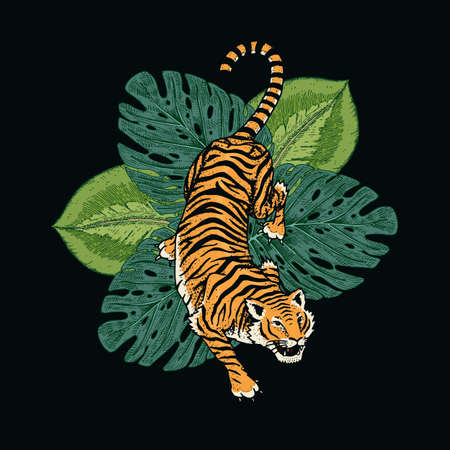 Japanese tigers with tropical leaves. Wild animal with green plants. Banner or poster for advertising or web. Vektorové ilustrace