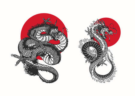 Japanese dragon and red sun.. Mythological animal or Asian traditional reptile. Symbol for tattoo or label. Engraved hand drawn line art Vintage old monochrome sketch, ink. Vector illustration.
