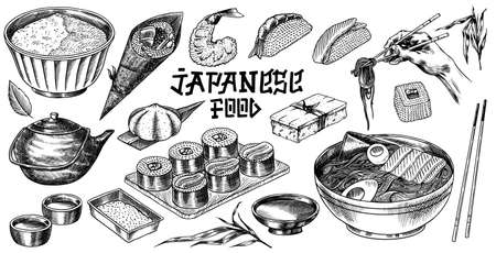 Japanese food set. Sushi bar, ramen noodles, soup in a bowl, roll and dessert, Asian tea. Soy sauce. Hand holds chopsticks. Drawn engraved sketch. Monochrome doodle style. Vector illustration