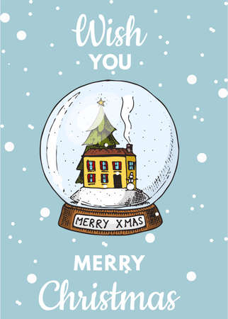 Merry Christmas banner. Magic ball and Snow house. New Year sticky label. Poster template. Vintage sticker Flyer or labels. Engraved hand drawn sketch