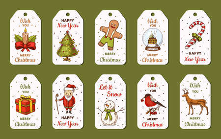 Merry Christmas banners. New Year cards, poster templates. Snowman and tree, candle deer and candy cane, Santa Claus. Flyer or labels for gifts.. Engraved hand drawn sketch in vintage style