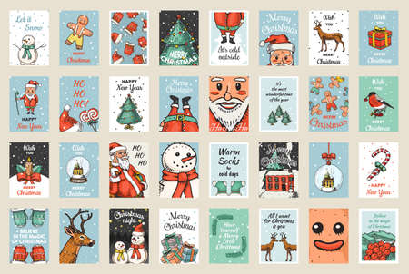 Merry Christmas banners set. New Year sticky label. Poster template. Snowman and tree, candle deer and candy cane, Santa Claus for vintage sticker Flyer or labels. Engraved hand drawn sketch