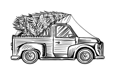 Car with a Christmas tree. Spruce in the luggage of the truck. Delivery concept. Hand drawn Vintage engraved sketch.