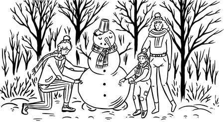 The family makes a snowman for Christmas. Mom Dad baby in the winter snowy forest. People in warm sweaters. Hand drawn sketch. Vintage engraved illustration