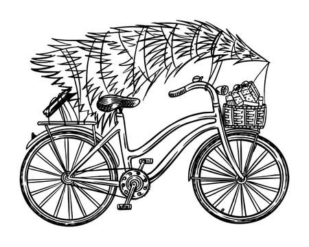 Bicycle with a Christmas tree. Spruce in the luggage of the bike. Delivery concept. Hand drawn Vintage engraved sketch.