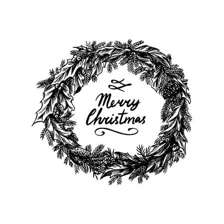 Christmas wreath. New Year decoration. Coniferous plant with flowers and holly. Winter spruce. Hand drawn engraved vintage sketch.
