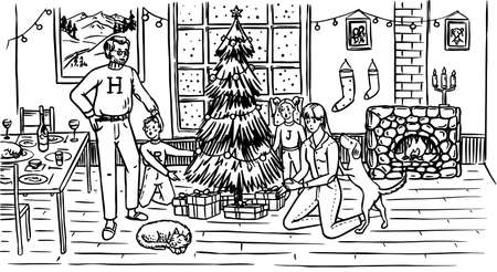 The family is decorating the tree for Christmas. Mom Dad Dog Cat and Children at the window with a fireplace at home. Cozy atmosphere. Hand drawn sketch.