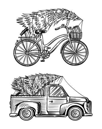 Car and Bicycle with a Christmas tree. Spruce in the luggage of the truck. Delivery concept. Hand drawn Vintage engraved sketch.
