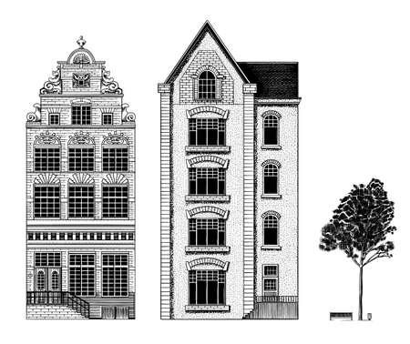 Amsterdam houses. Urban residential buildings. Scandinavian style. European city. Hand drawn monochrome doodle vector illustration 矢量图像