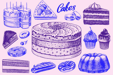 Cakes and cream tarts, fruit desserts and muffins. Chocolate Donuts, Sweet Food. Hand drawn pastries. Vintage engraved sketch. Vector illustration for a banner or menu of a cafe and restaurant.